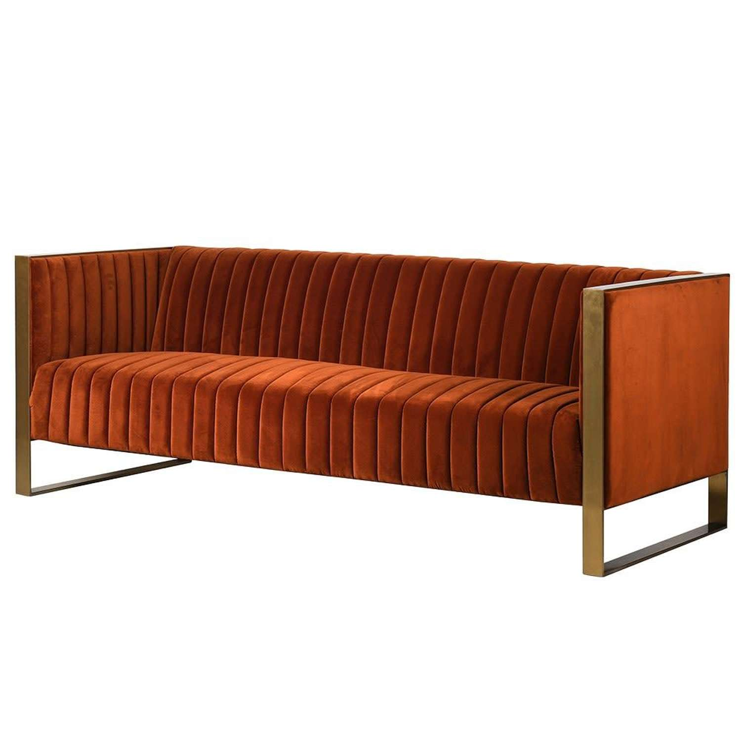 Luxury Ribbed Sofa with Gold Coloured Staines Steel Frame - 3 Seater