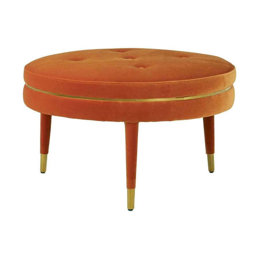 Large Orange Velvet Stool with Gold Trim