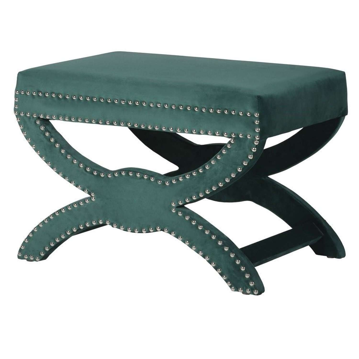 Green Velvet Shaped Stool with Feature Studding