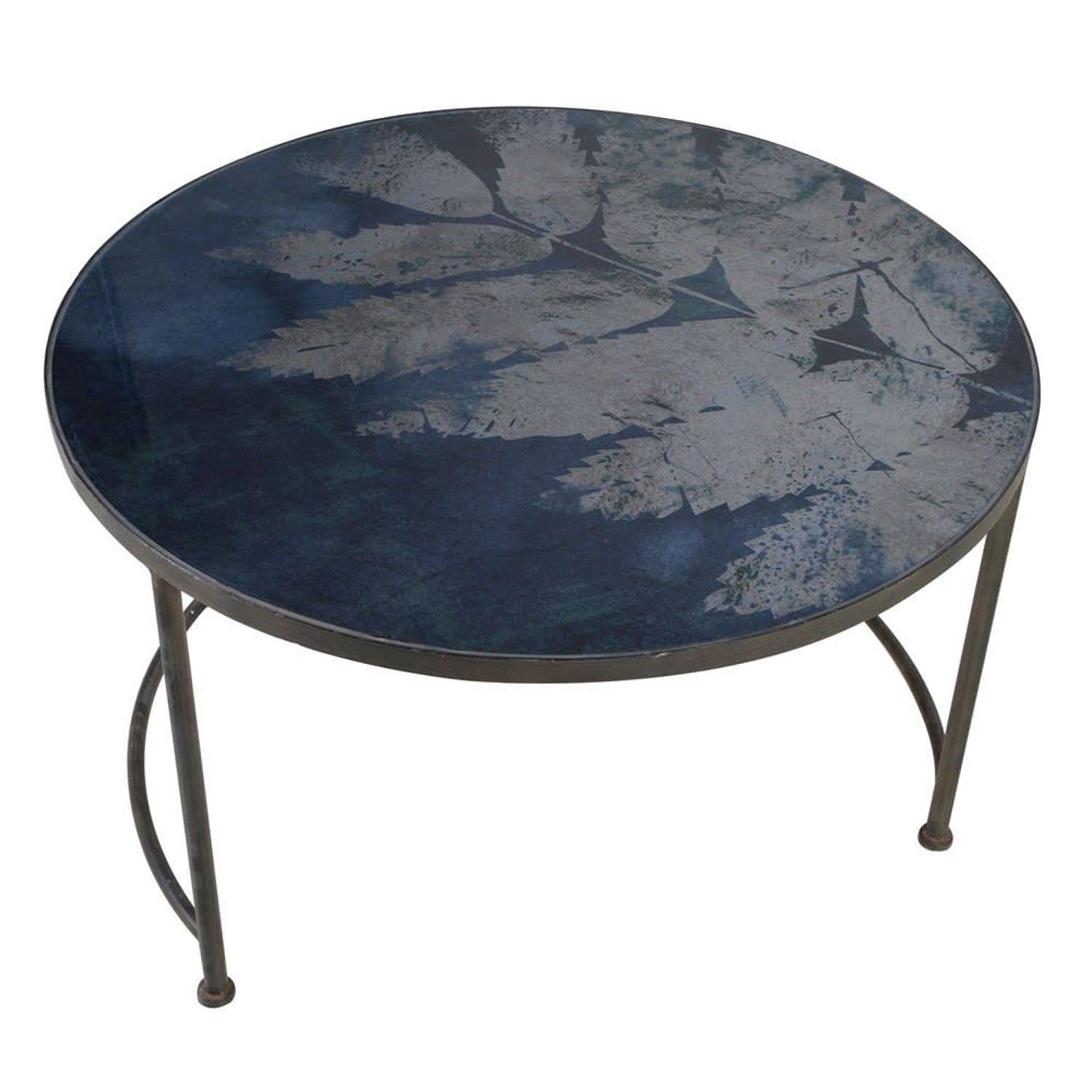 Iron Coffee Table with Blue Fern Glass Top