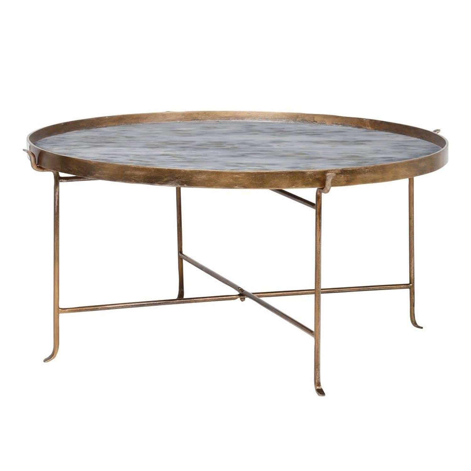 Large Rustic Antique Gold Metal Coffee Table - Pearlescent Top