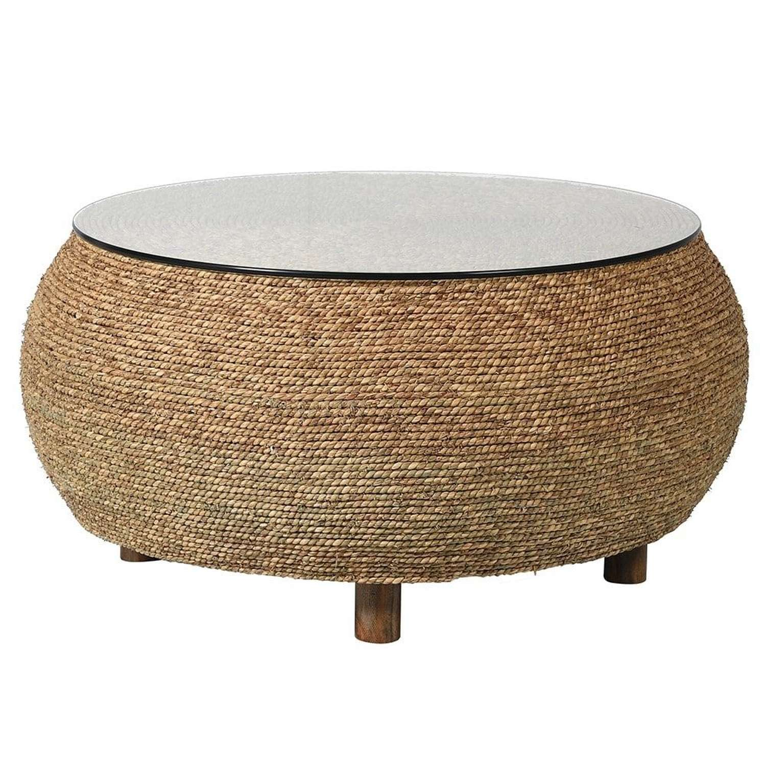 Round Seagrass Coffee Table with Glass Top