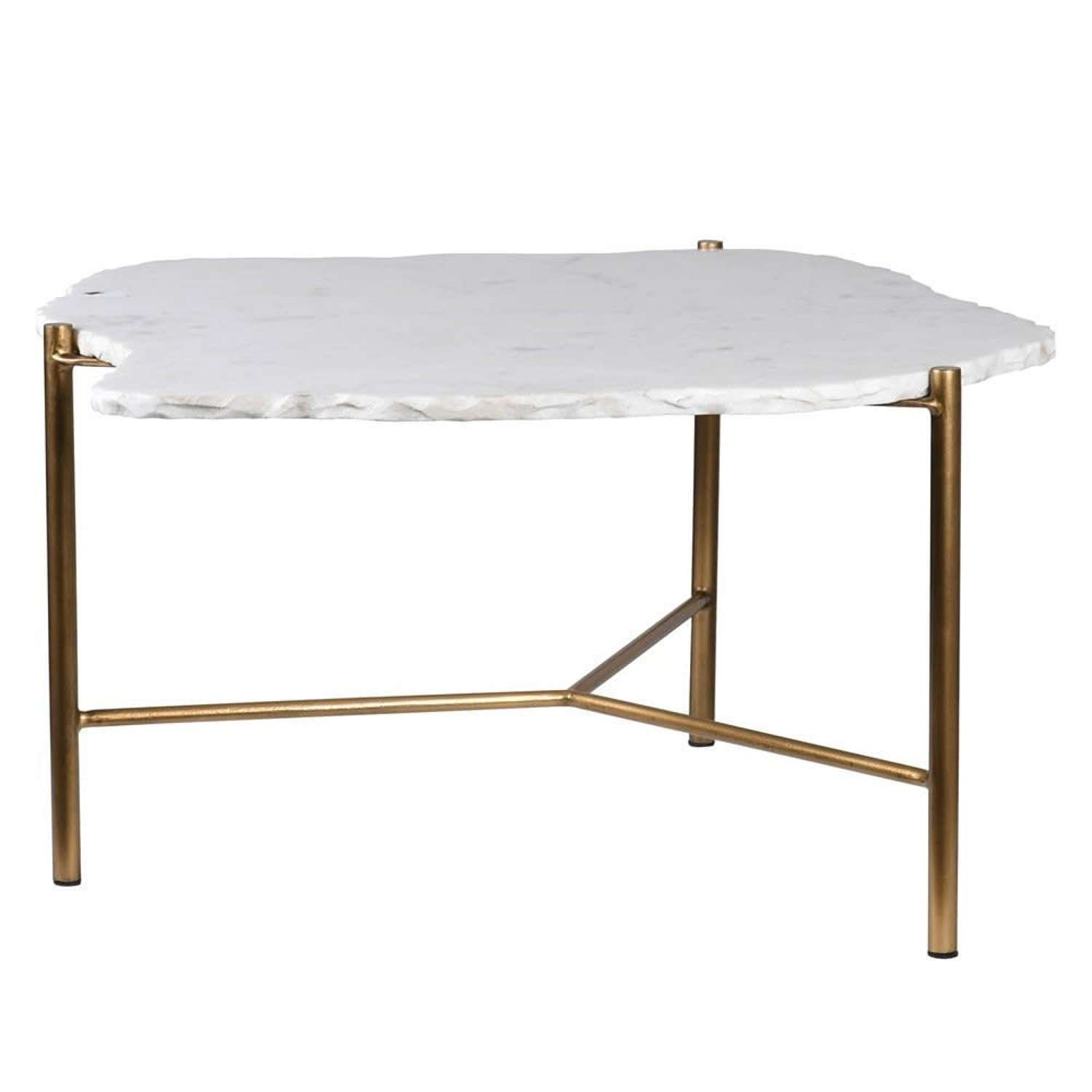 Gold Finished Coffee Table with White Stone Top