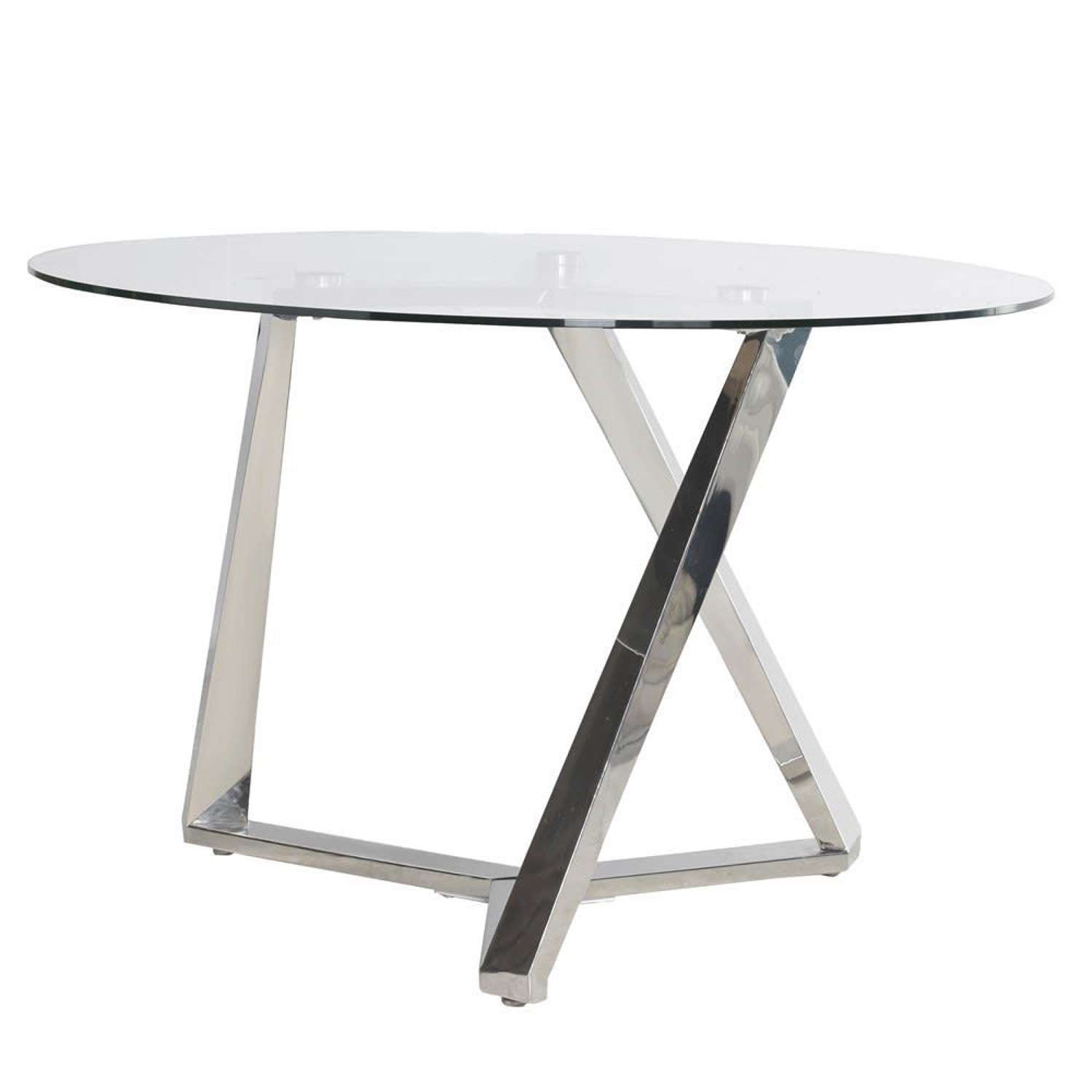 Stainless Steel Round Dining Table with Glass Top