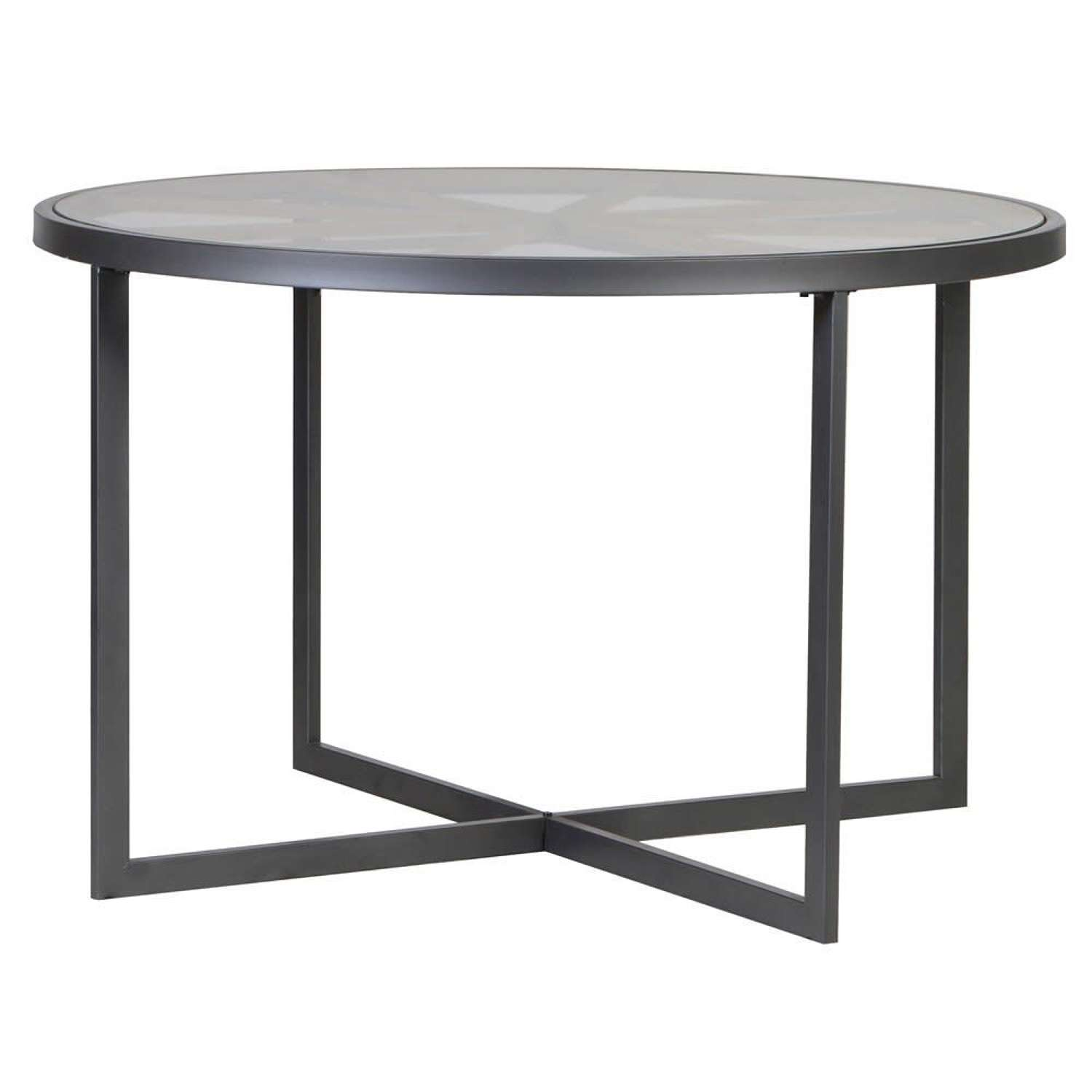 Round Dining Table with Glass Top and Spoke Design