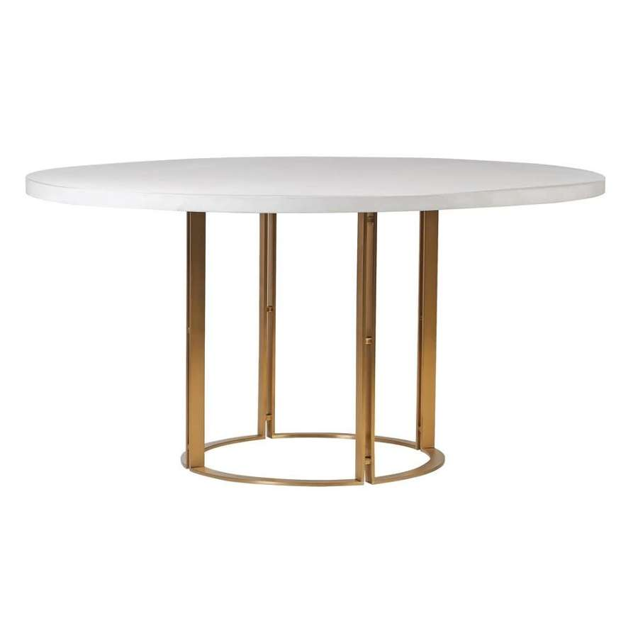 Large Round Dining Table with White Concrete Top
