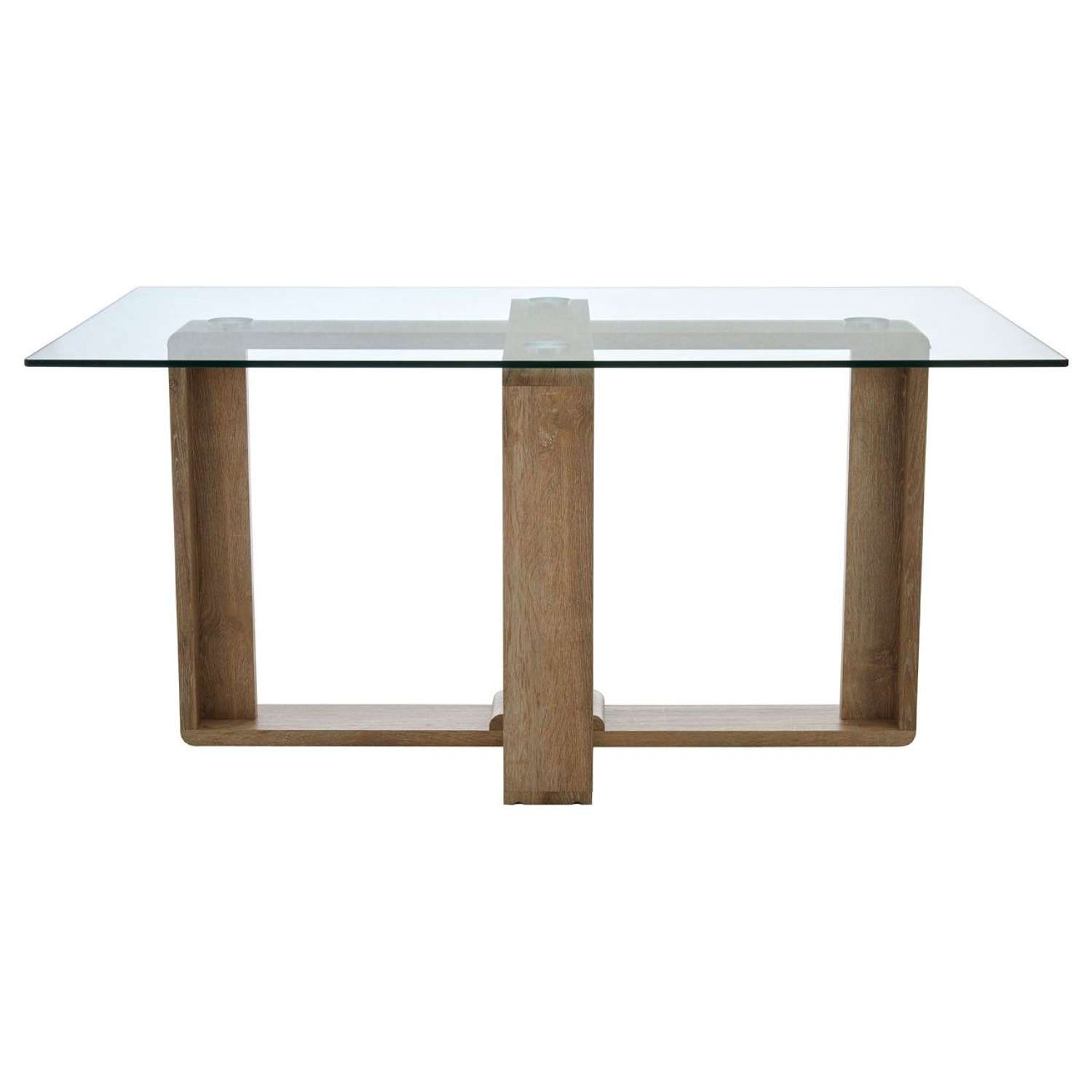 Oblong Dining Table with Clear Glass Top