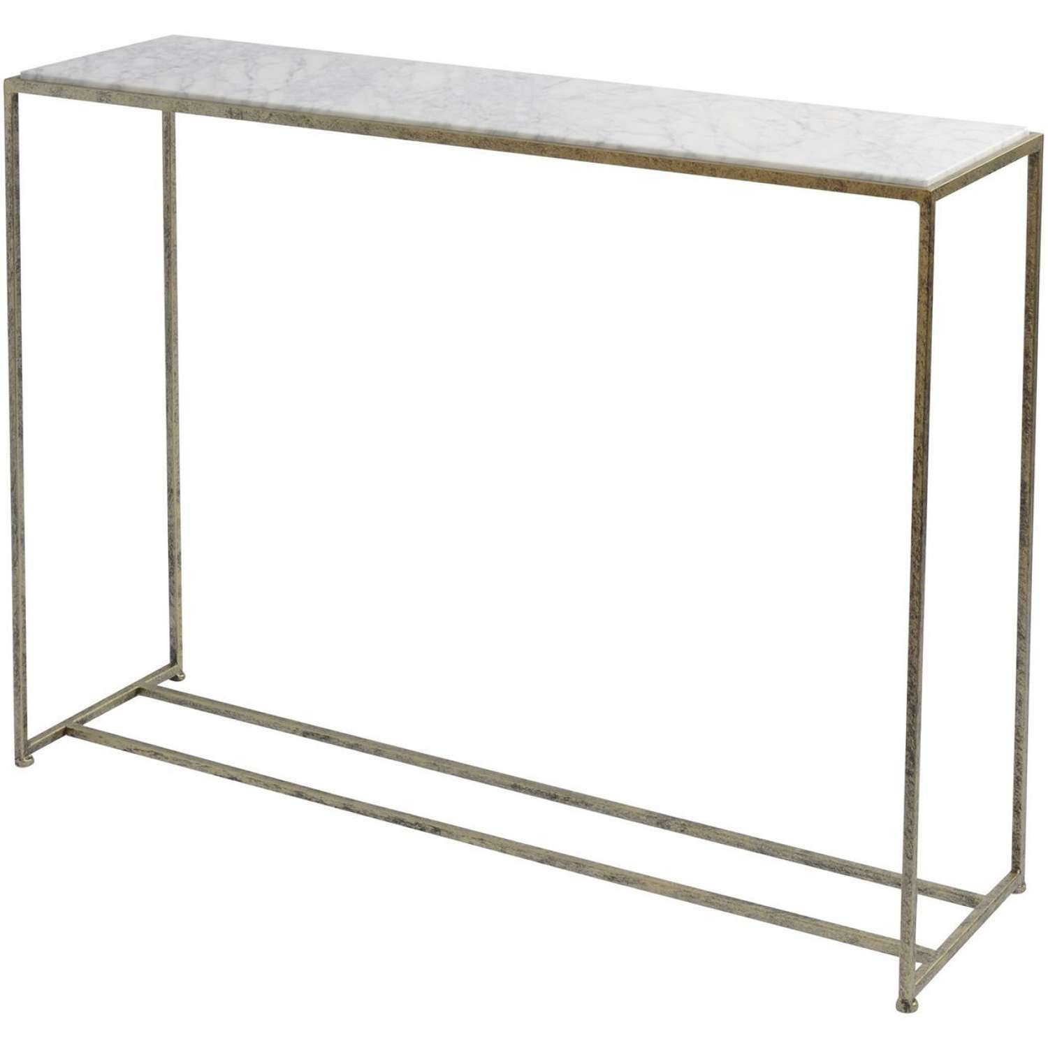 Gold Framed Console Table with White Marble Top