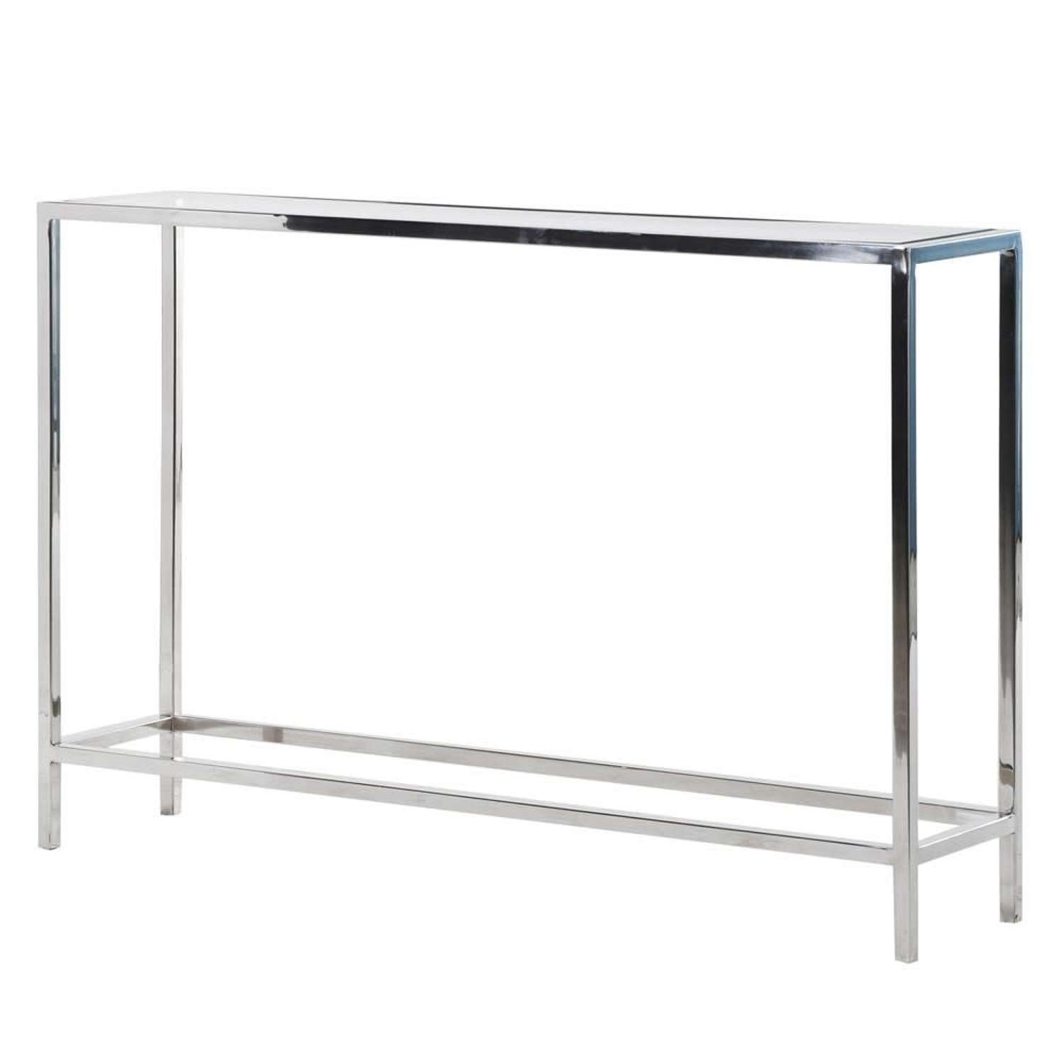 Sleek Stainless Steel Console with Tempered Glass Top