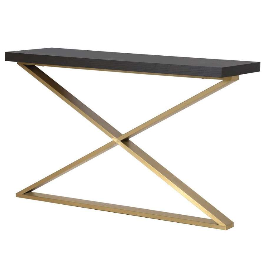 Brushed Gold Console with Oak Veneer Top