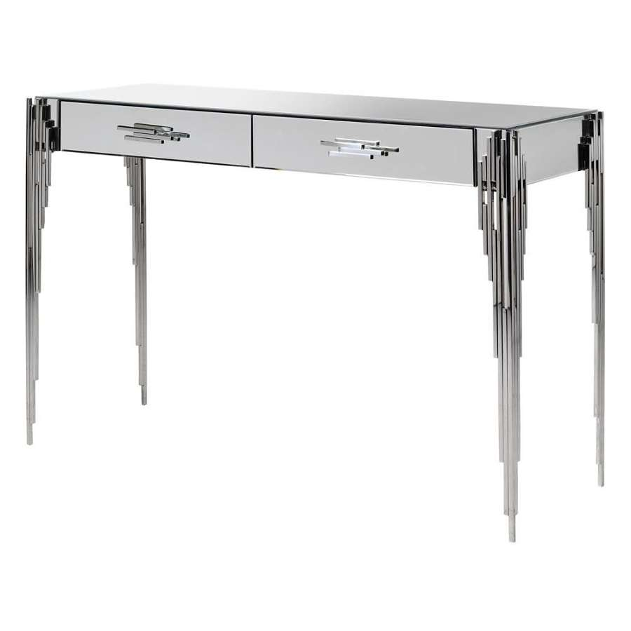 Art Deco Inspired Glass Console Table with Dawer