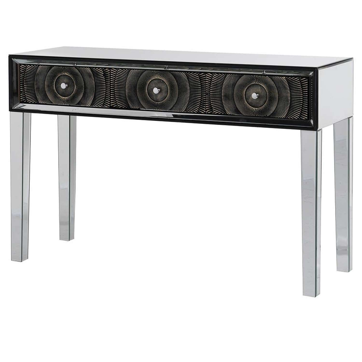 Mirrored Console Table with Circle Design on Drawers