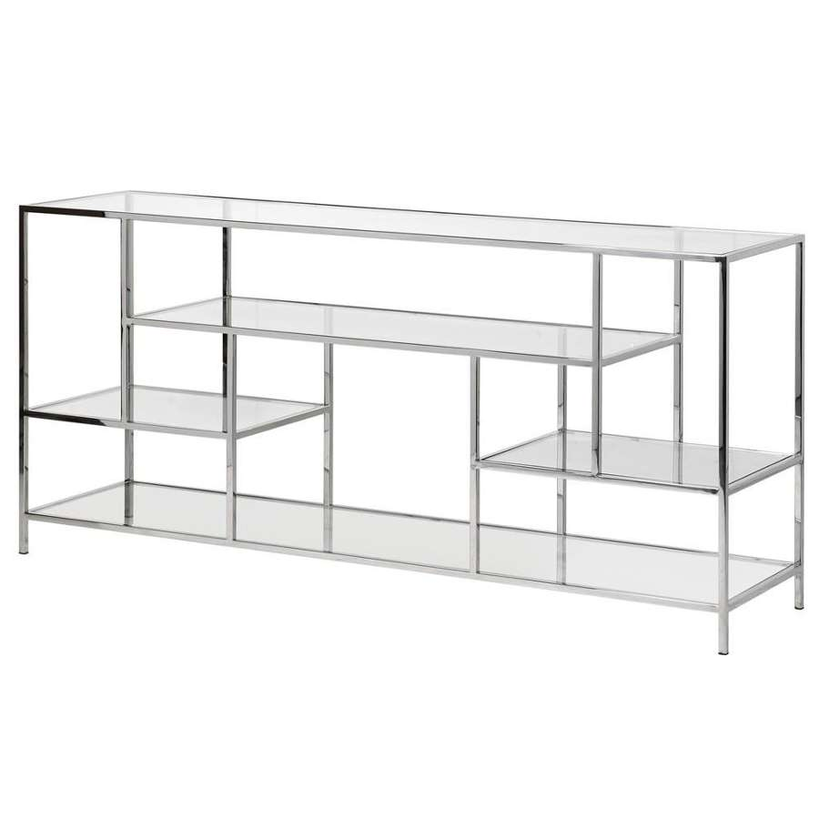 Multi Shelf, Polished Staineless Steel Console