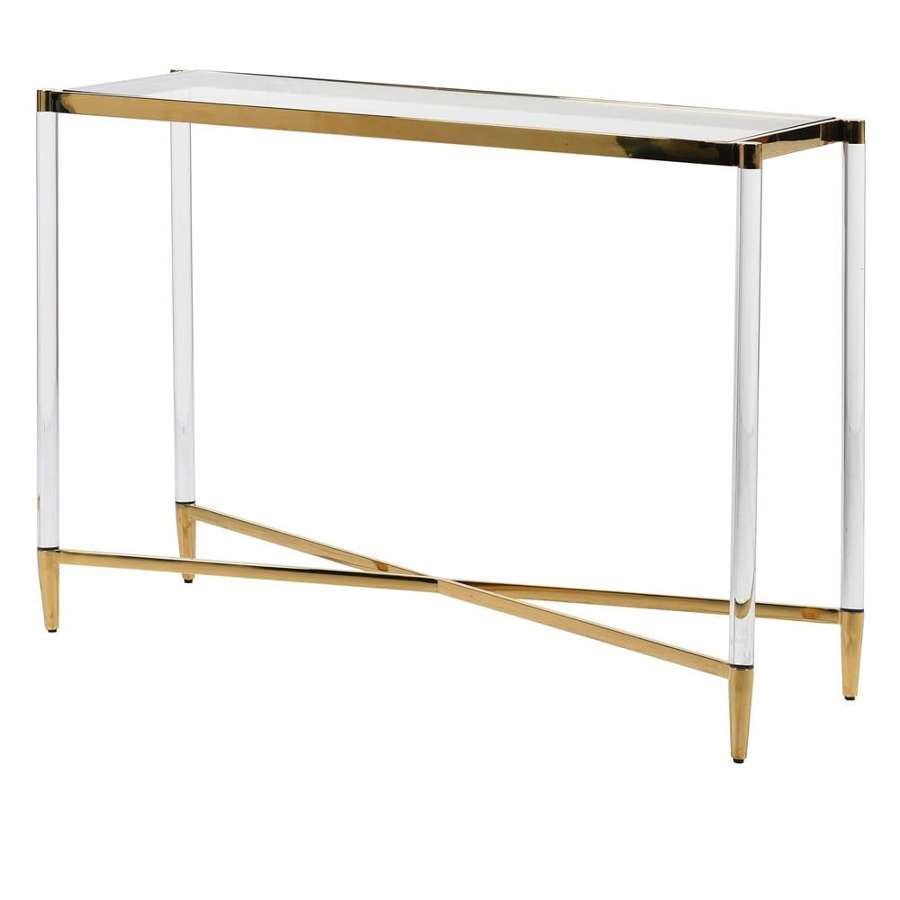 Elegant Gold Console with Acrylic Legs and Glass Top
