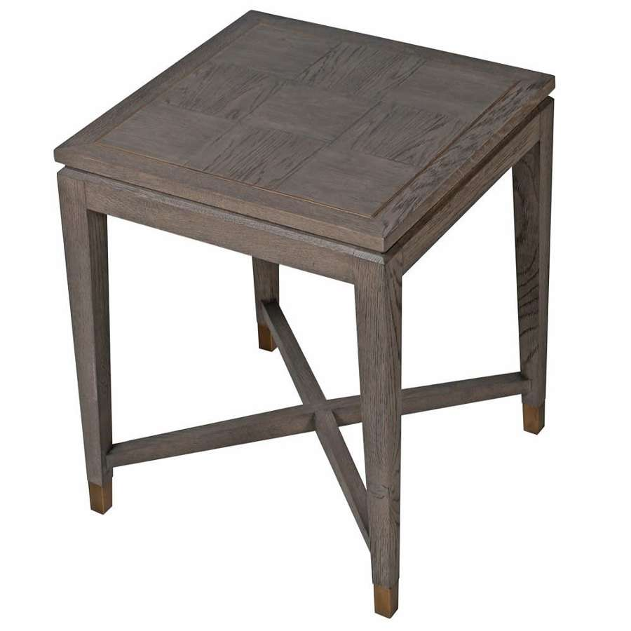 Textured Oak Side Table with Brass Inlay
