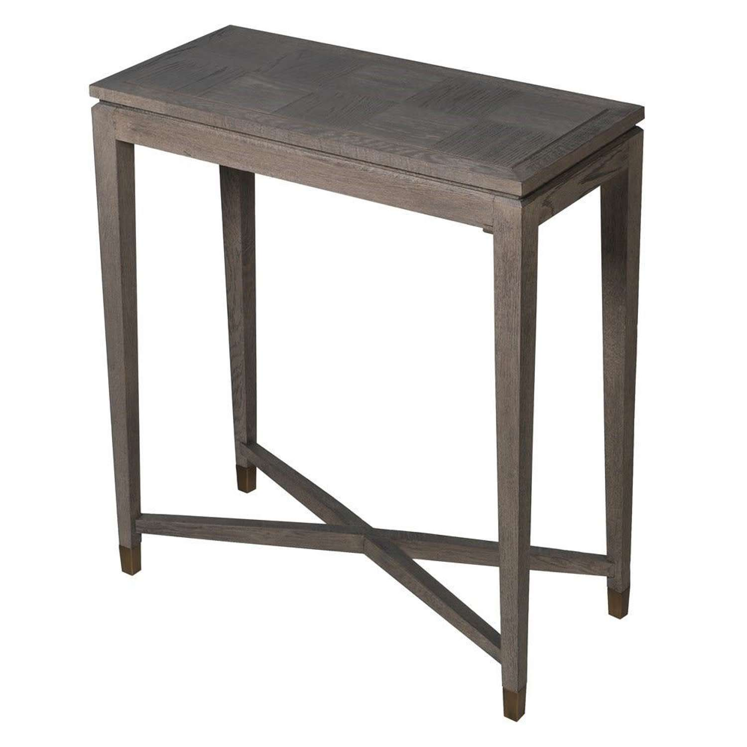 Textured Oak Console Table with Brass Inlay