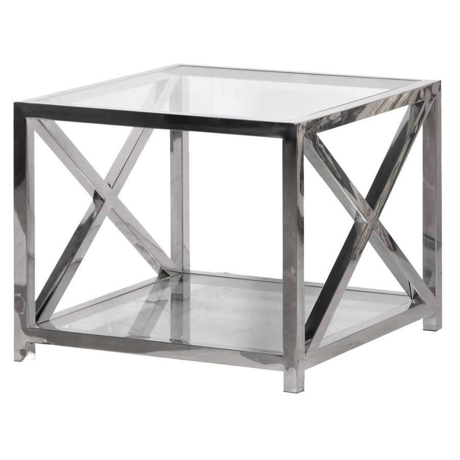 Stainless Steel X Frame Side Table