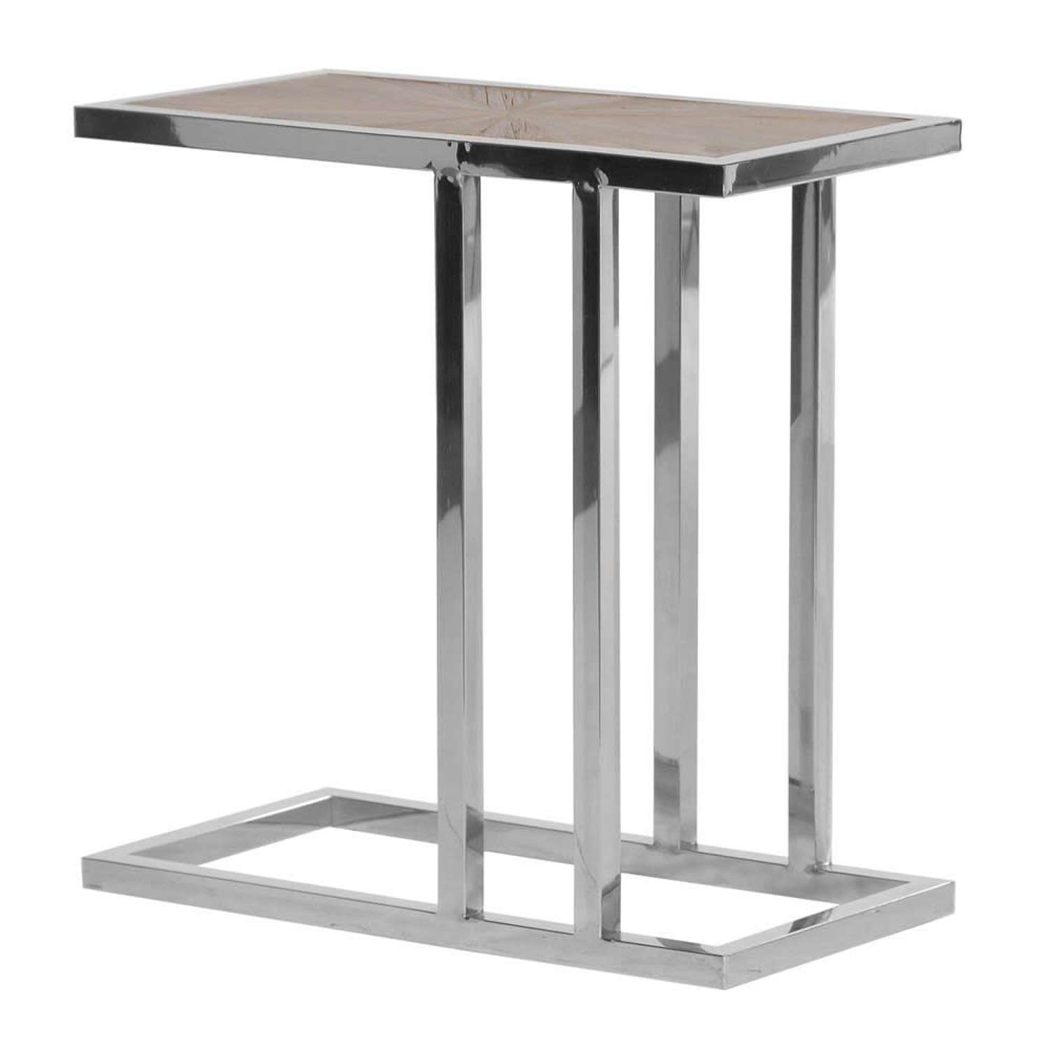 Stainless Steel Side Table with Elmwood Top