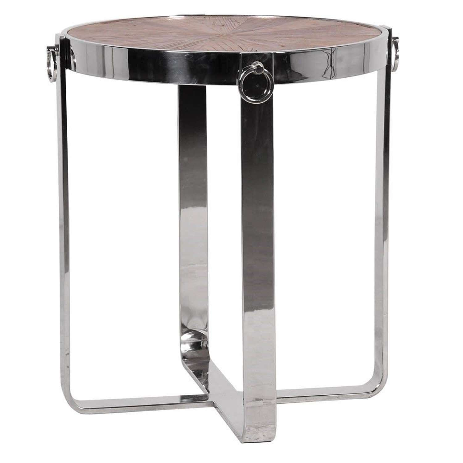 Stainless Steel Round Side Table with Elmwood Top