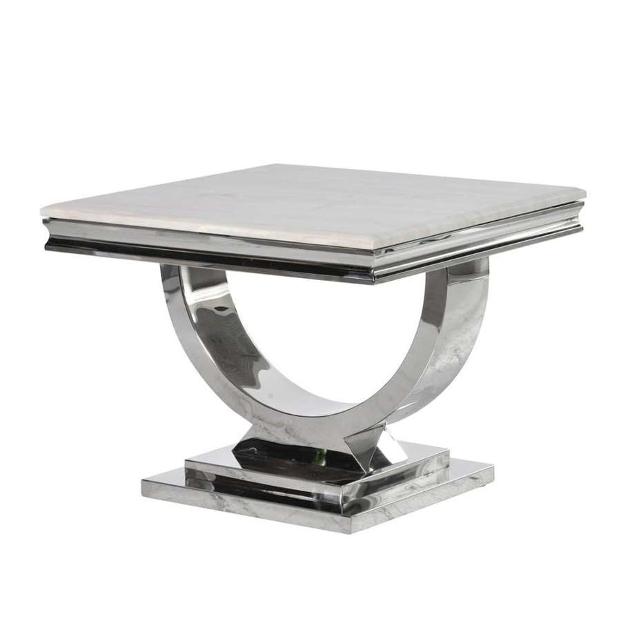 Composite Marble & Steel Side Table