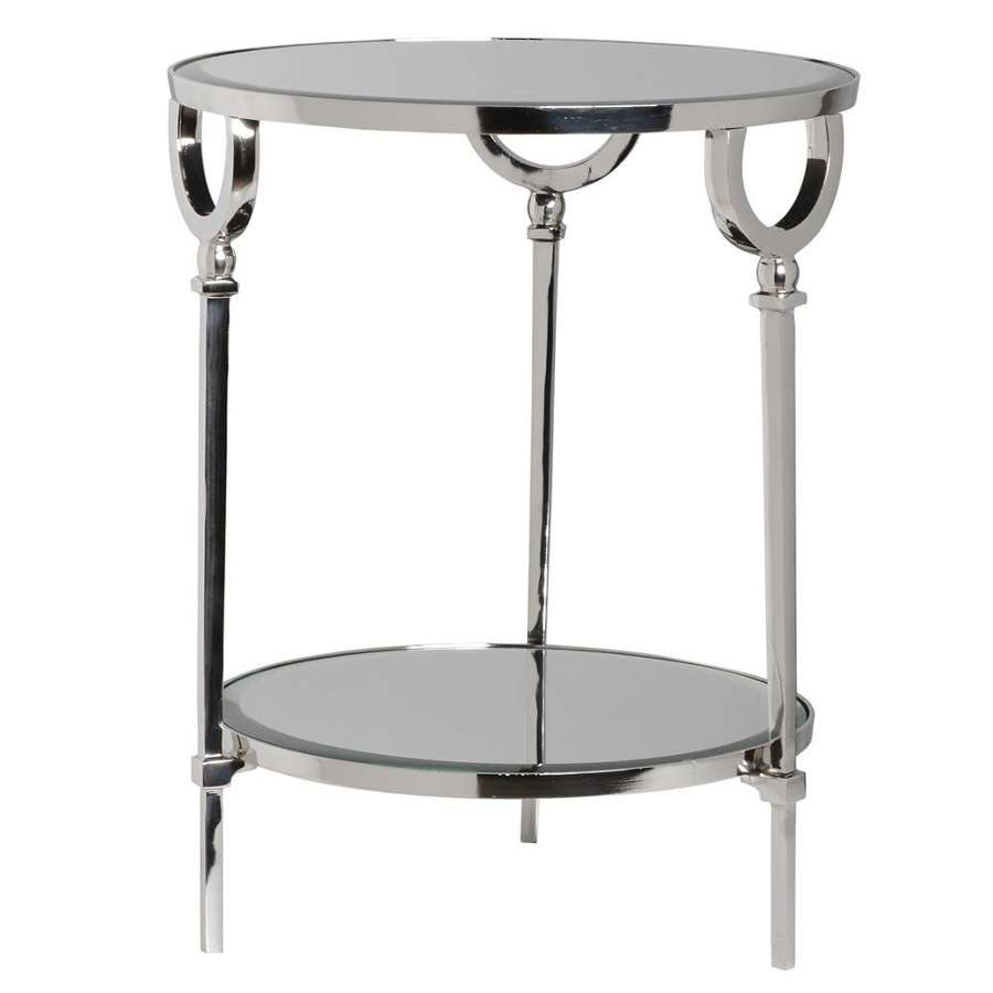 Polished Aluminium Side Table with Mirror Top and Shlelf