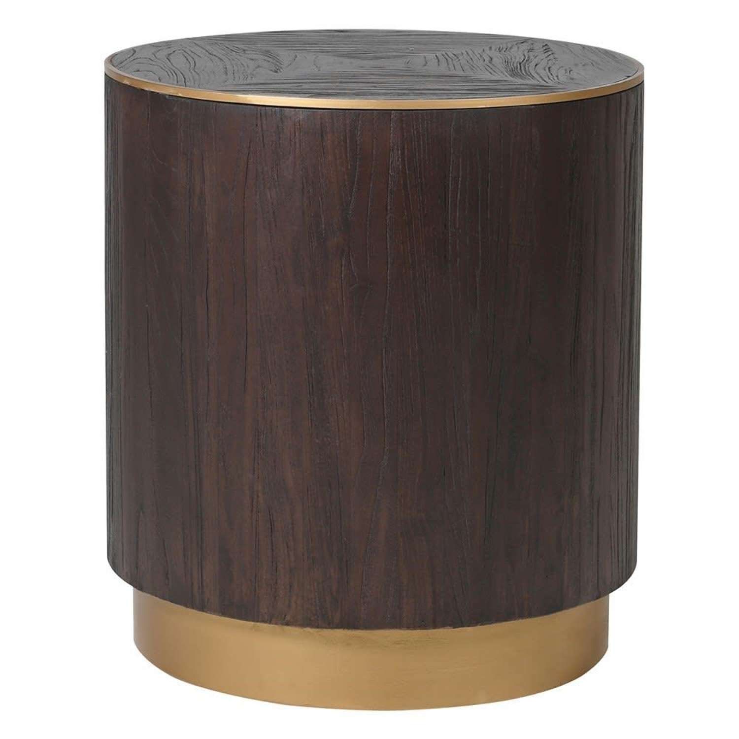 Brushed Elm and Copper Round Side Table