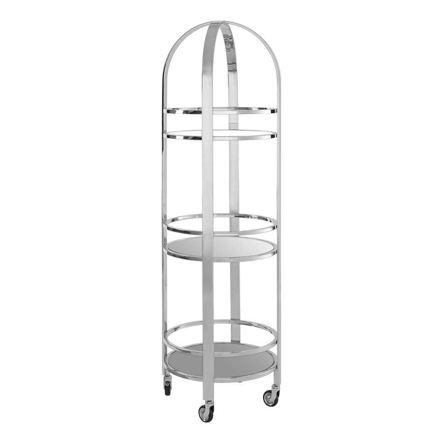 Tall, Silver Drinks Display Trolley