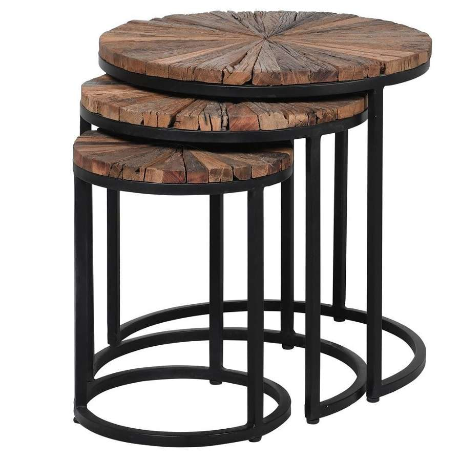 Trio of Circular Nesting Tables - Reclaimed Wood