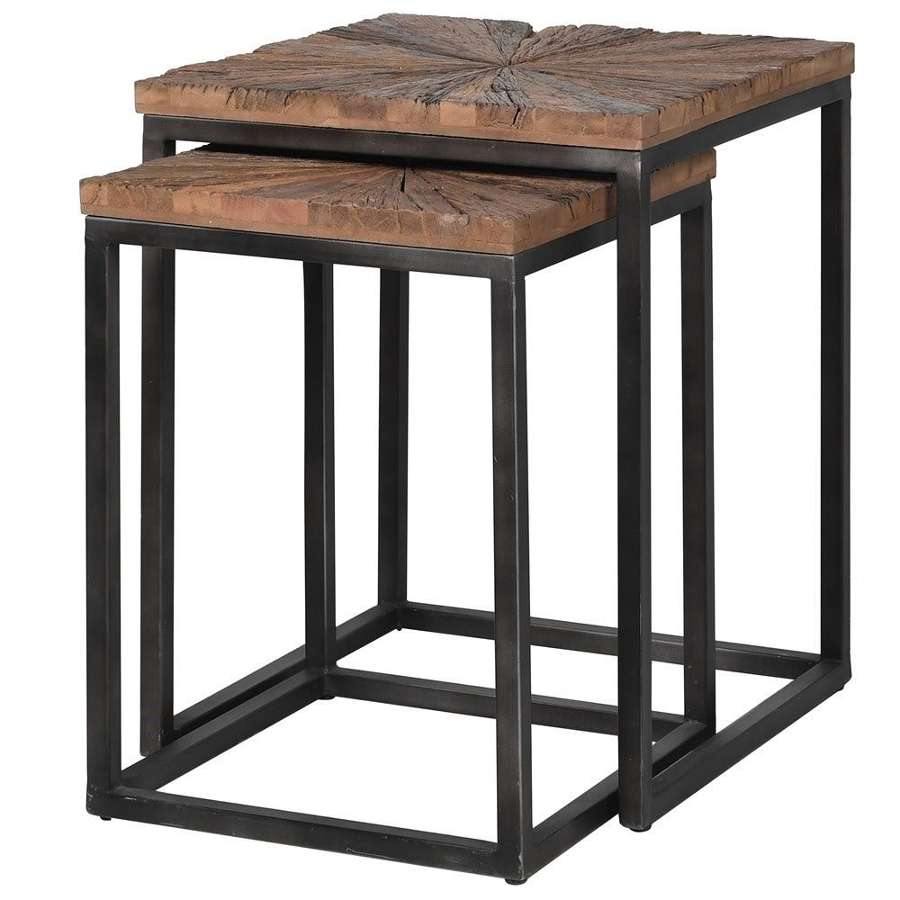 Duo of Square Nesting Tables - Reclaimed Wood