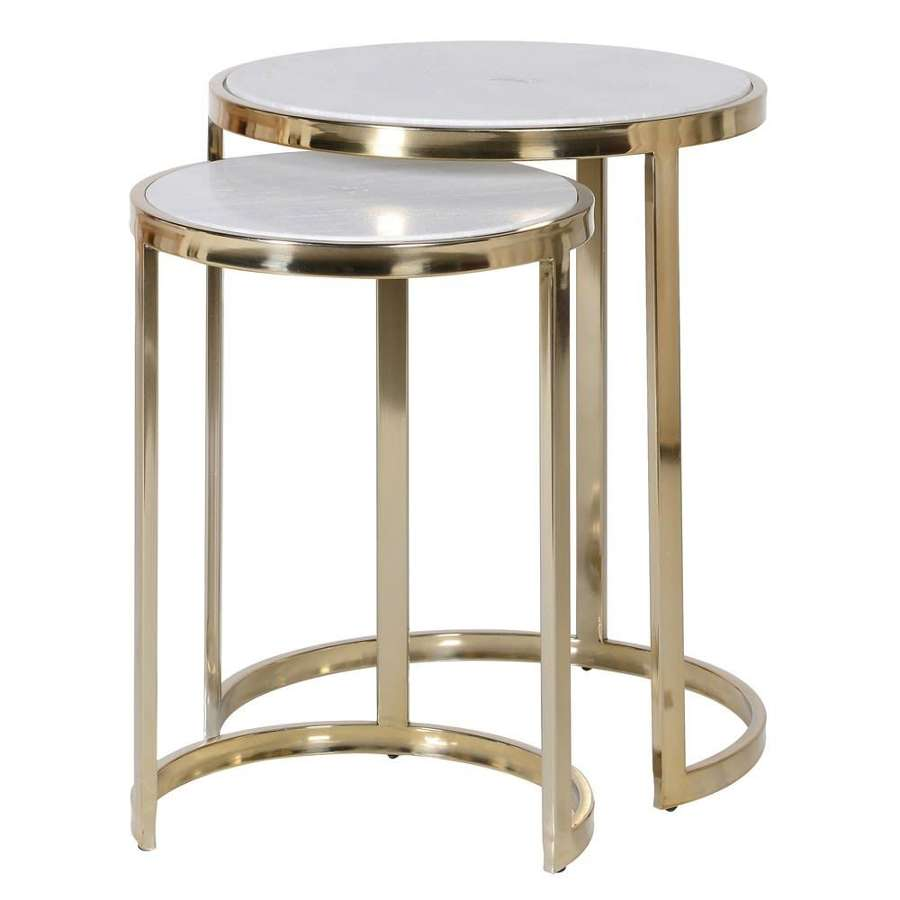 Duo of Circular Nesting Tables with Marble Top