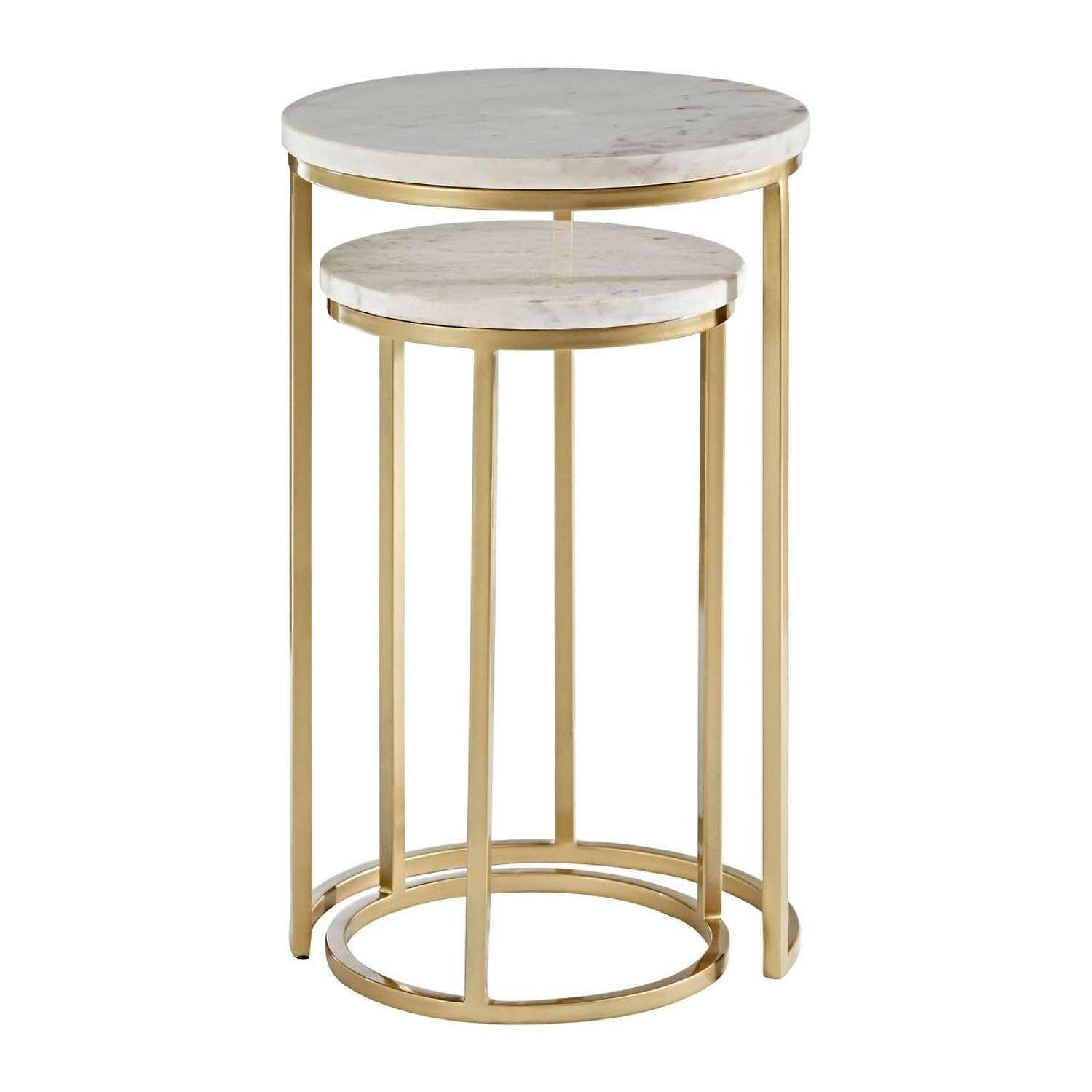 Tall Duo of Gold Nesting Tables with Marble Tops