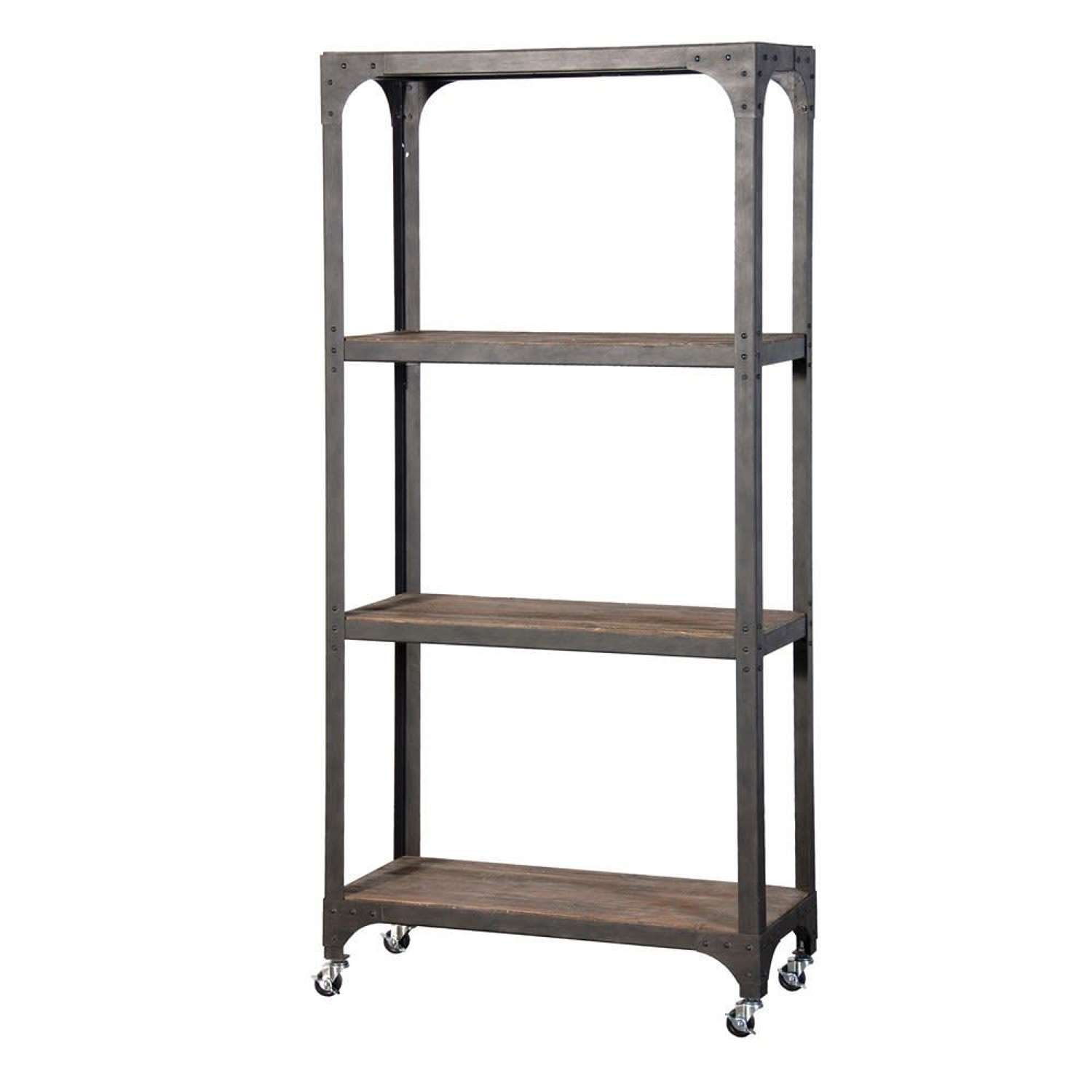 Industrial Style Shelving Unit on Wheels