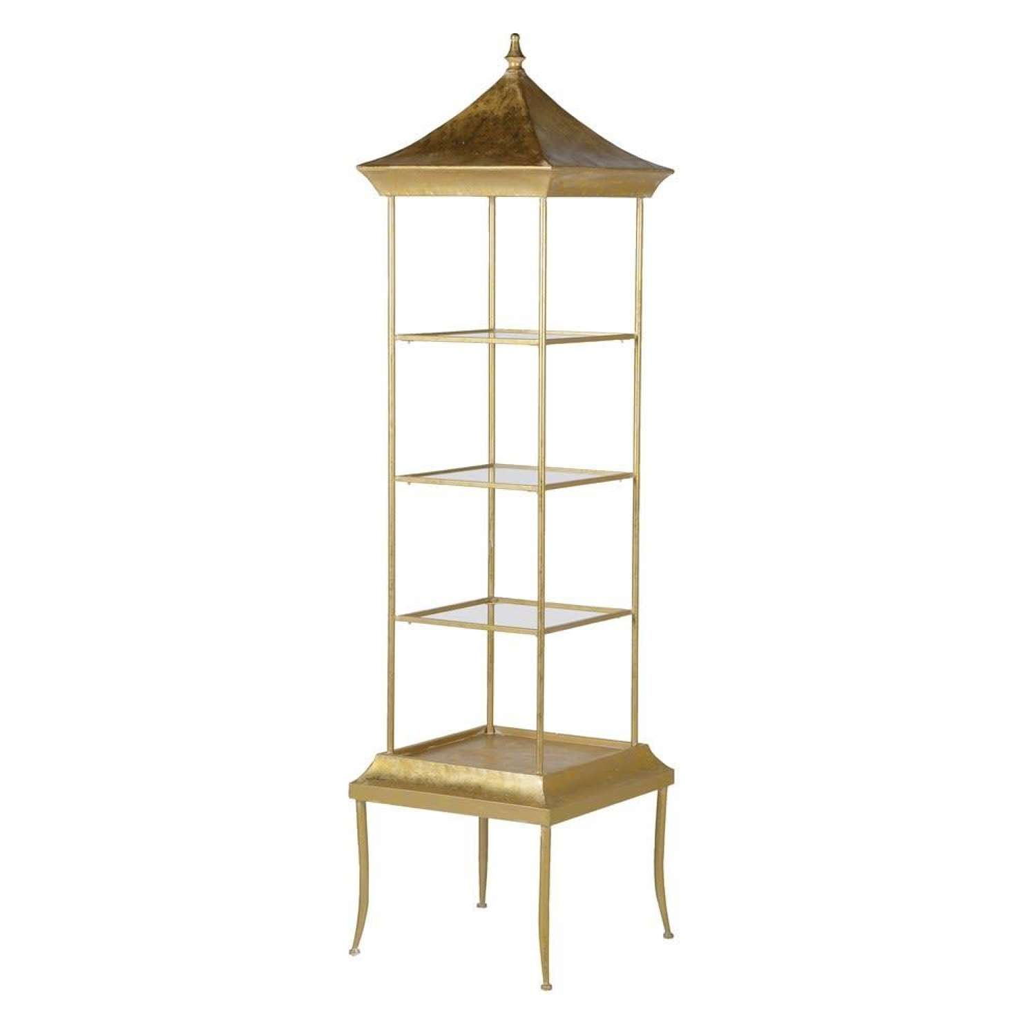 Gold Finished Pagoda Style Shelving Unit