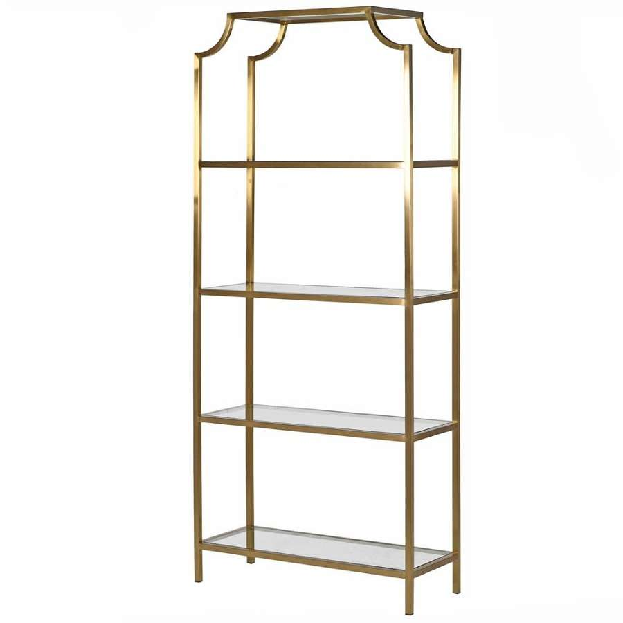 Tall Gold Coloured, Four Tiered Display Unit