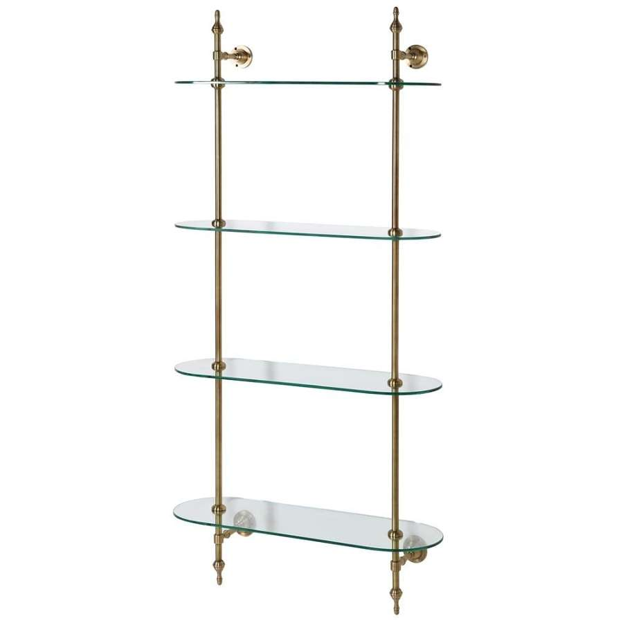 Brass and Glass Wall Mounted Shelf Unit