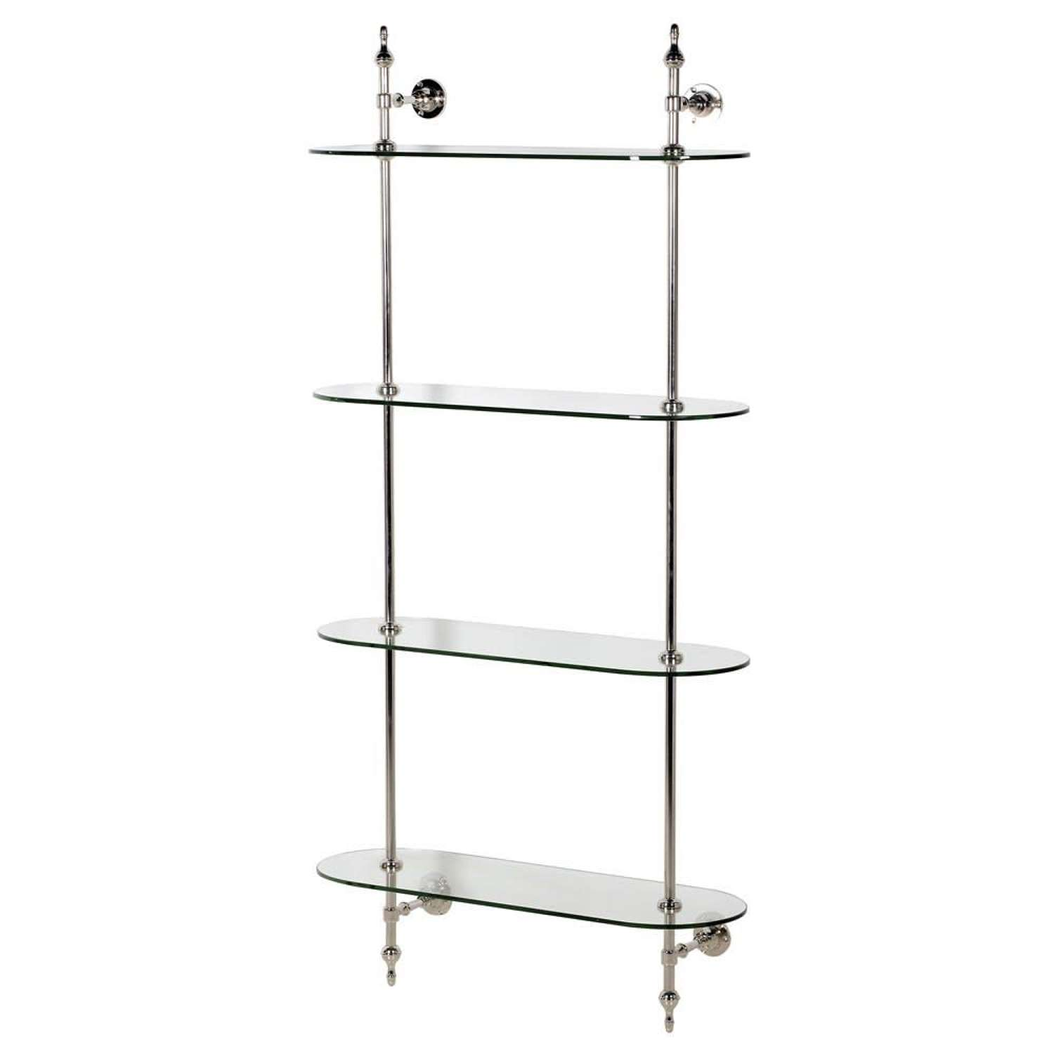 Stainless Steel and Glass Wall Mounted Shelf Unit