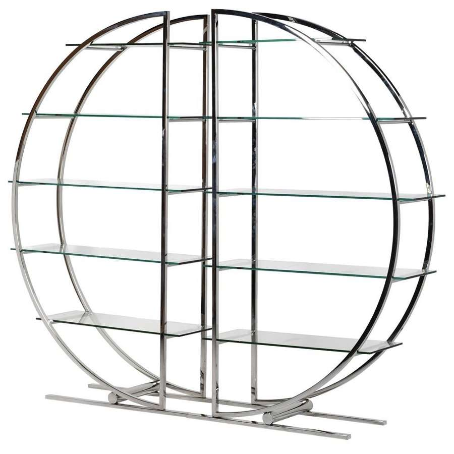 Large Stainless Steel and Glass Circle Wall Unit