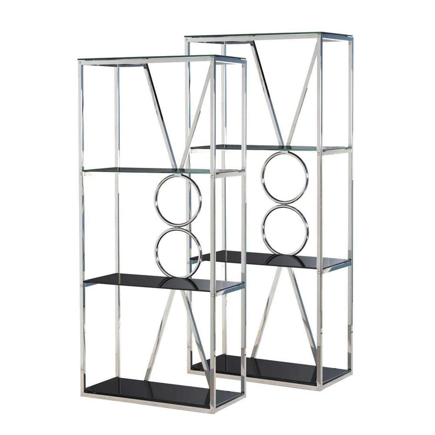 Pair of Stainless Steel and Black Glass Dispay Units