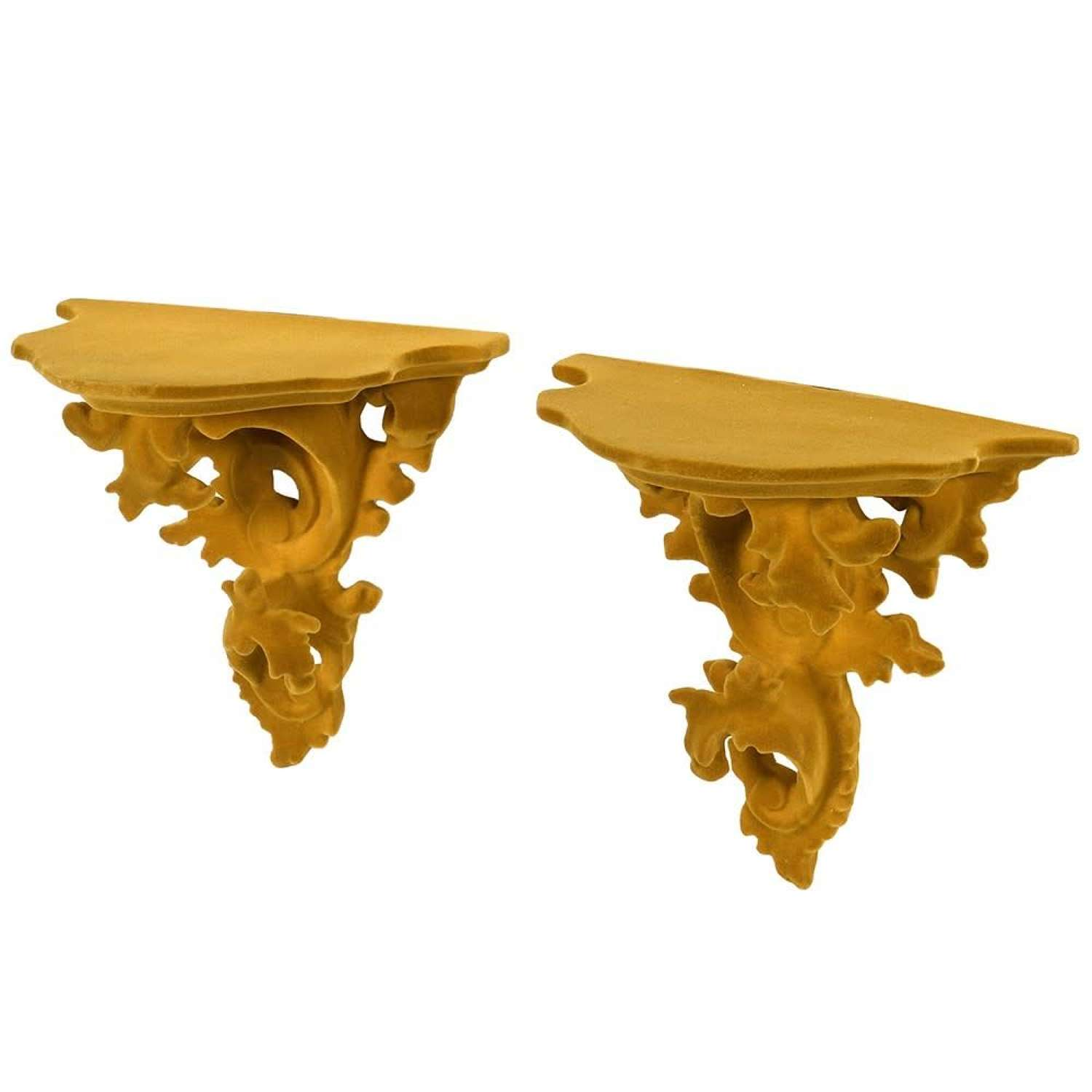 Pair of Yellow Flock Ornate Wall Shelves