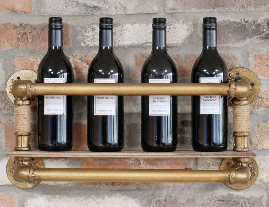 Gold Coloured Wine Shelf - Industiral Pipe Design