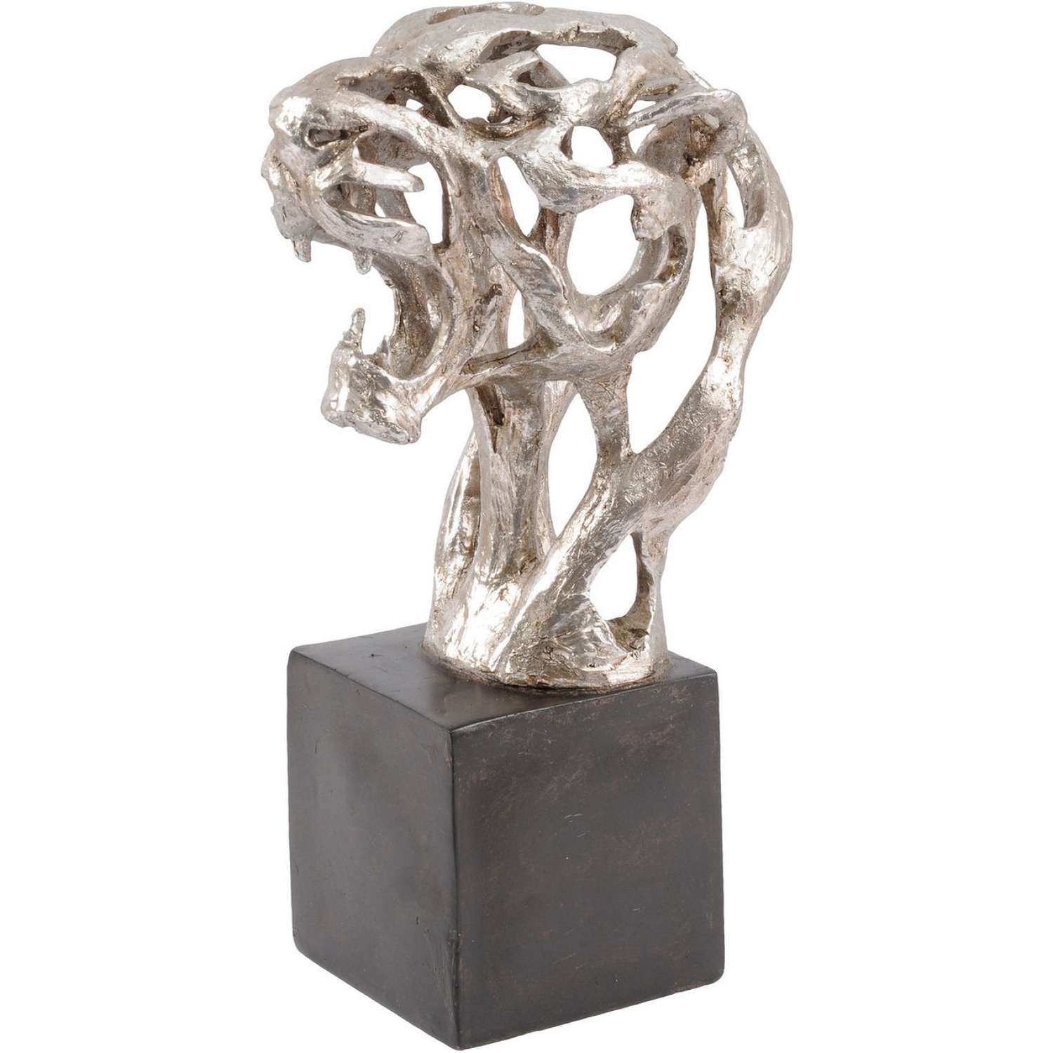 Abstract Tiger Head Sculpture on Base