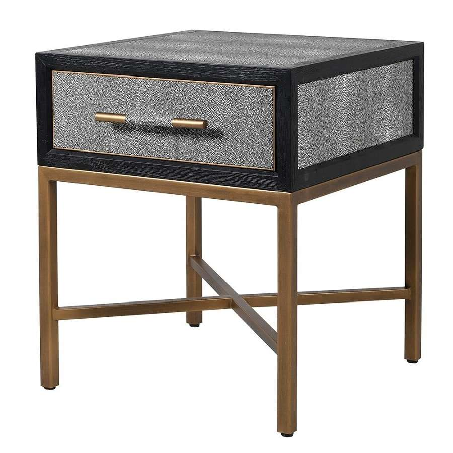 Oak and Shagreen Single Drawer Side Table