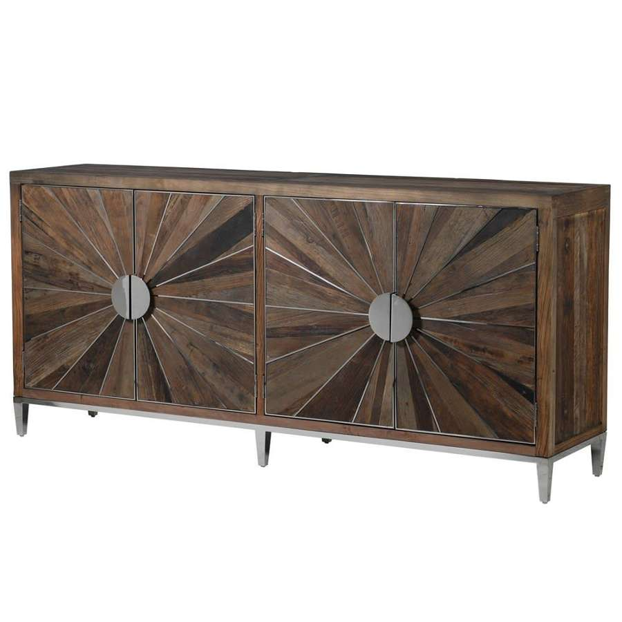 Reclaimed Elm and Steel Sideboard