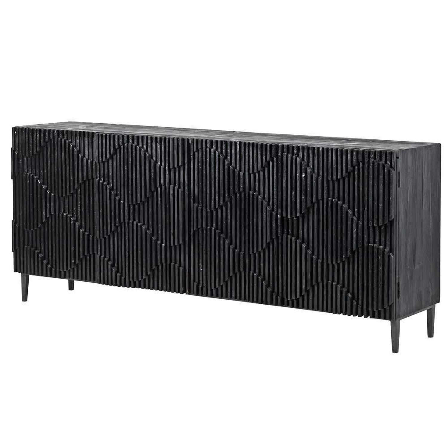 Wave Effect Black Sideboard
