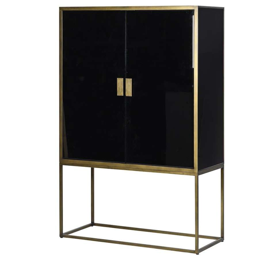 Large Black Mirrored and Brass Cabinet