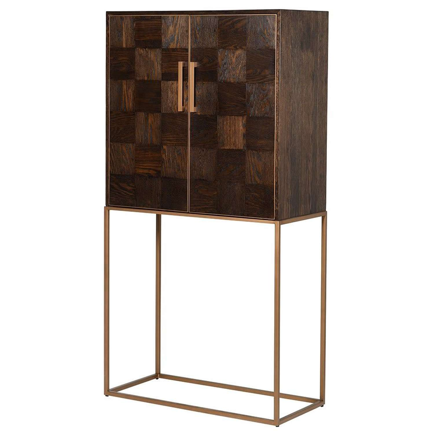 Oak and Iron Parquet Drinks Cabinet