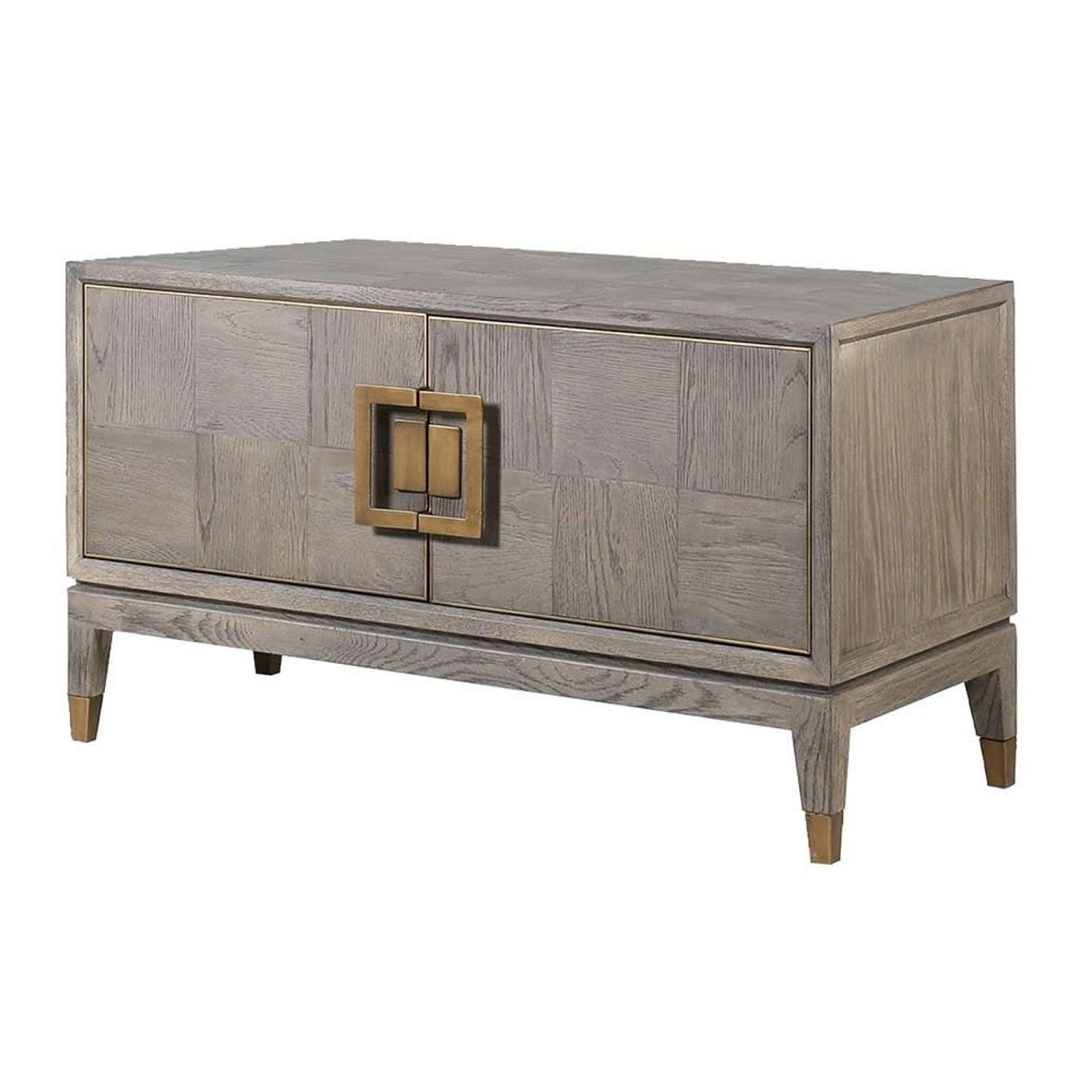 Textured Oak Small Media Unit with Brass Detail