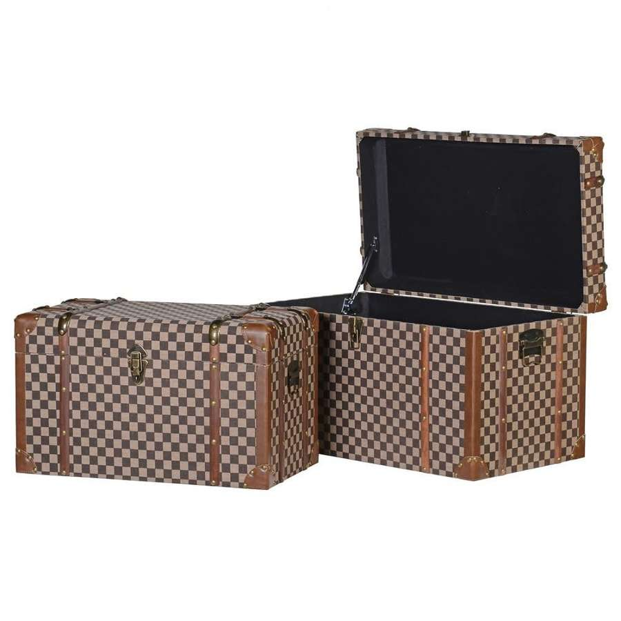 Set of 2 Trunks. Check Fabric, Wood & Brass Effect Detailing