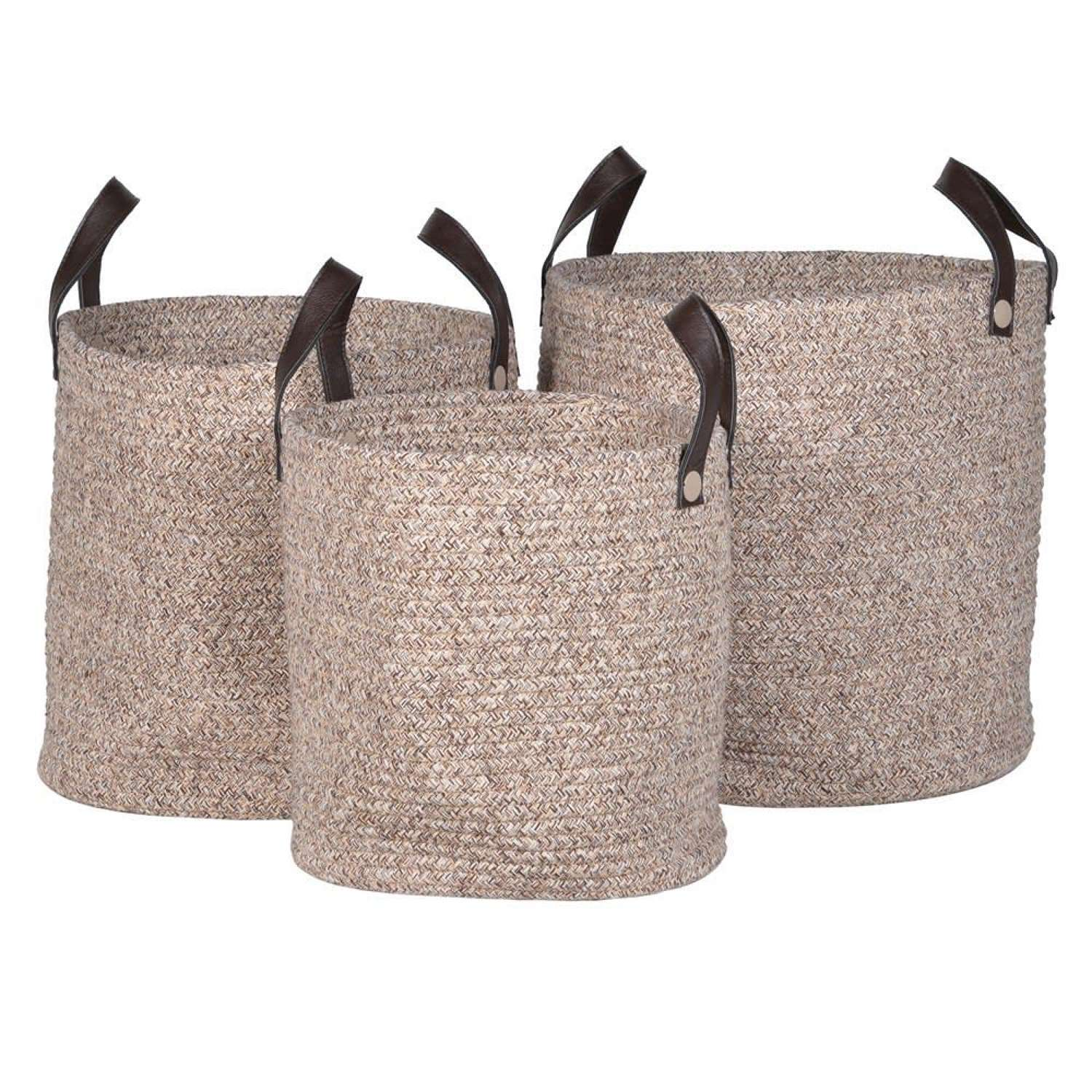 Trio of Rope Storage Baskets - Faux Leather Handles