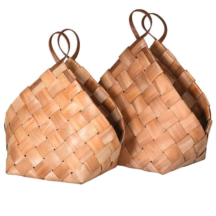 Set of 2 Decorative Woven Willow Baskets
